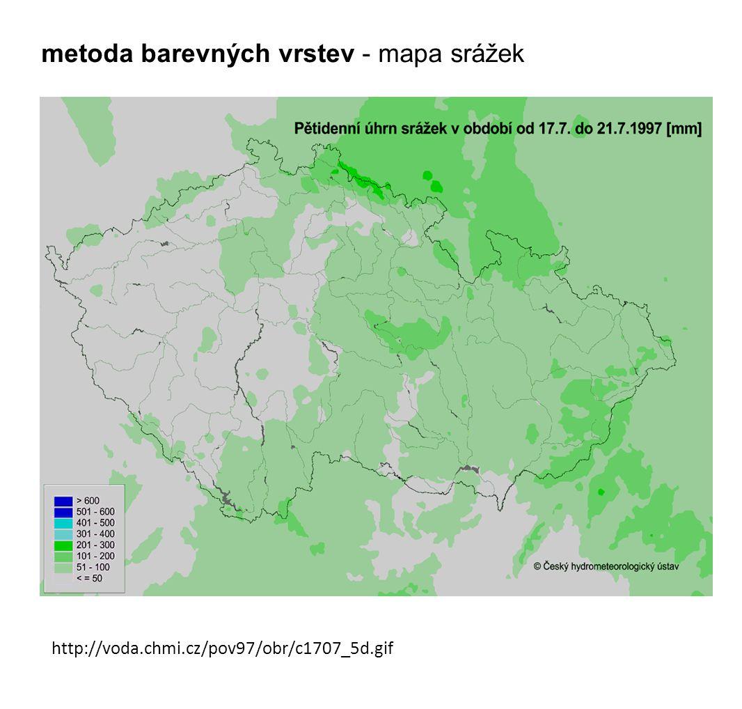http://voda.chmi.cz/pov97/obr/c1707_5d.gif metoda barevných vrstev - mapa srážek