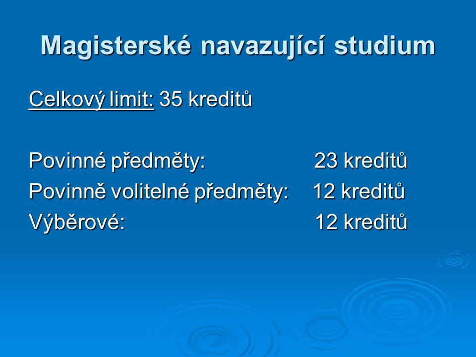 Magisterské navazující studium Celkový limit: 35 kreditů Povinné předměty: 23 kreditů Povinně volitelné předměty: 12 kreditů Výběrové: 12 kreditů
