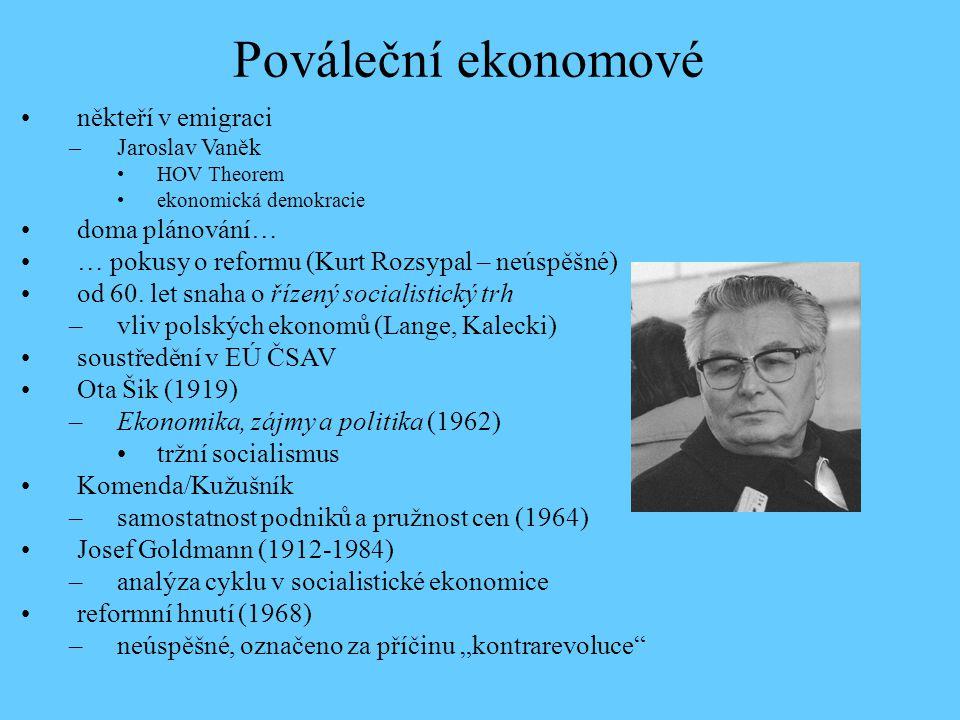 někteří v emigraci –Jaroslav Vaněk HOV Theorem ekonomická demokracie doma plánování… … pokusy o reformu (Kurt Rozsypal – neúspěšné) od 60. let snaha o