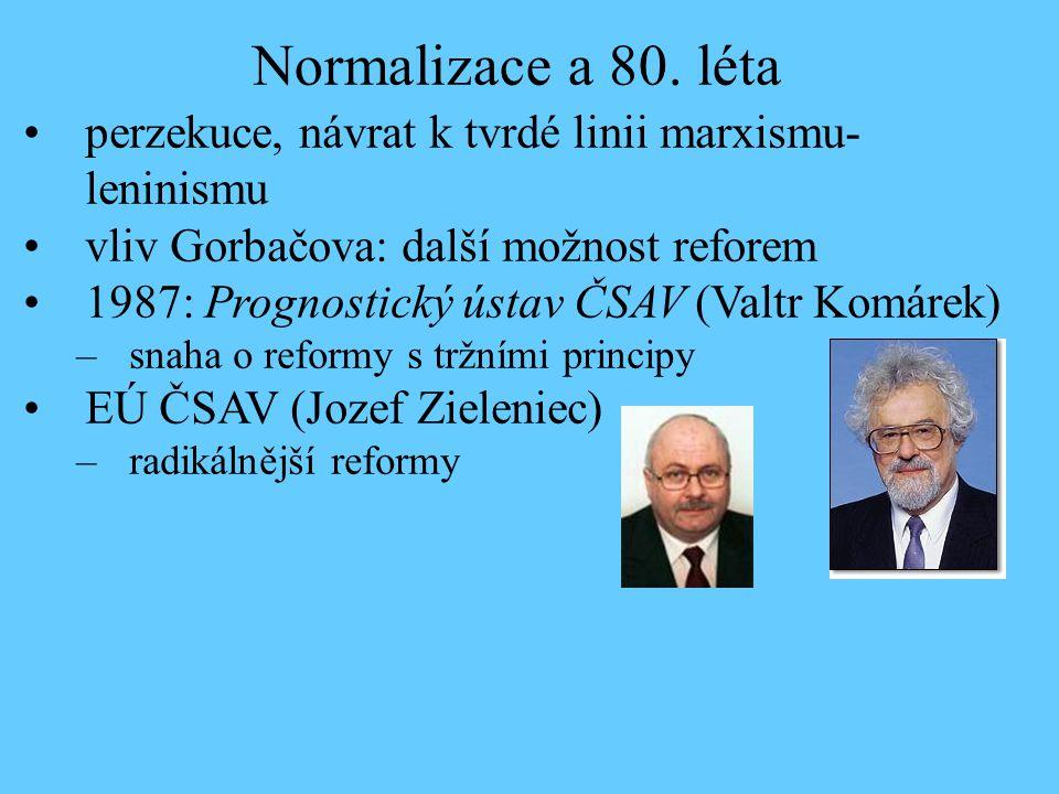 perzekuce, návrat k tvrdé linii marxismu- leninismu vliv Gorbačova: další možnost reforem 1987: Prognostický ústav ČSAV (Valtr Komárek) –snaha o refor