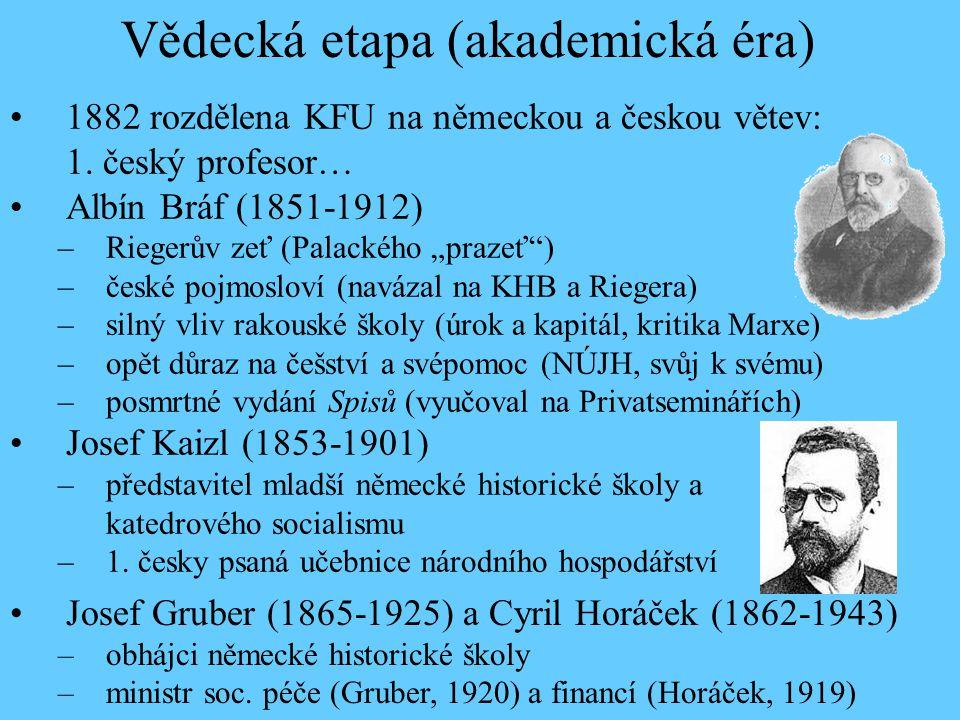 """1882 rozdělena KFU na německou a českou větev: 1. český profesor… Albín Bráf (1851-1912) –Riegerův zeť (Palackého """"prazeť"""") –české pojmosloví (navázal"""