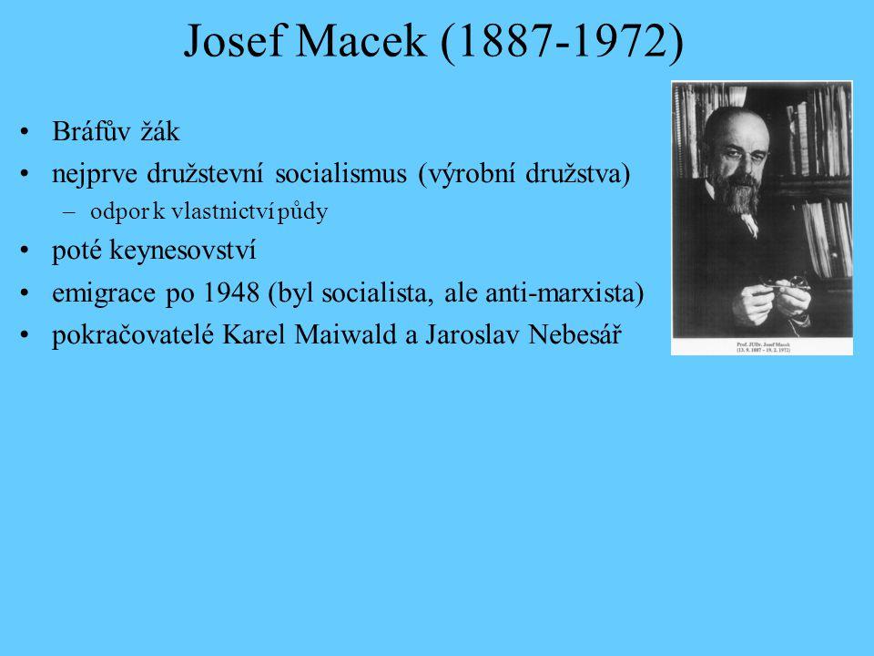 Josef Macek (1887-1972) Bráfův žák nejprve družstevní socialismus (výrobní družstva) –odpor k vlastnictví půdy poté keynesovství emigrace po 1948 (byl