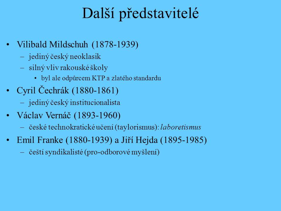 Další představitelé Vilibald Mildschuh (1878-1939) –jediný český neoklasik –silný vliv rakouské školy byl ale odpůrcem KTP a zlatého standardu Cyril Č