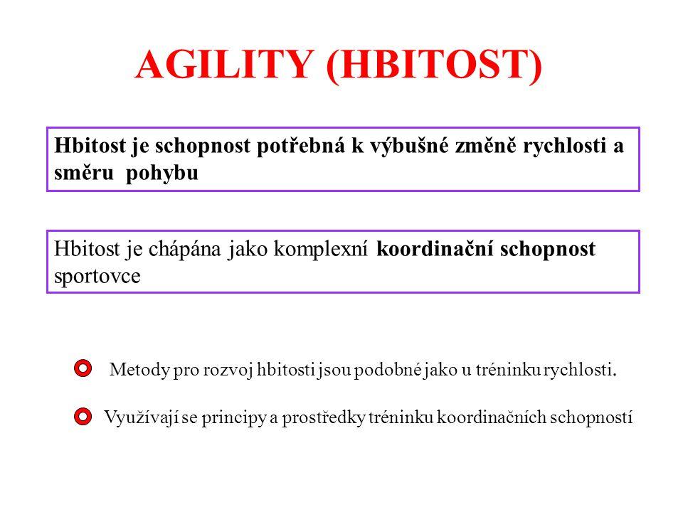 AGILITY (HBITOST) Hbitost je schopnost potřebná k výbušné změně rychlosti a směru pohybu Hbitost je chápána jako komplexní koordinační schopnost sportovce Metody pro rozvoj hbitosti jsou podobné jako u tréninku rychlosti.