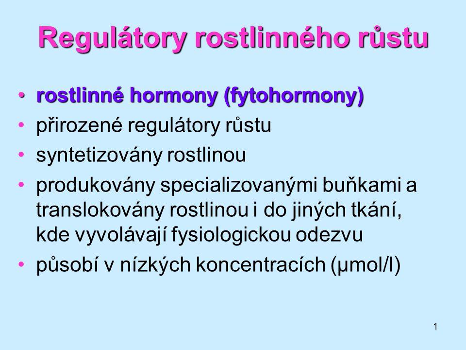 1 Regulátory rostlinného růstu rostlinné hormony (fytohormony)rostlinné hormony (fytohormony) přirozené regulátory růstu syntetizovány rostlinou produ