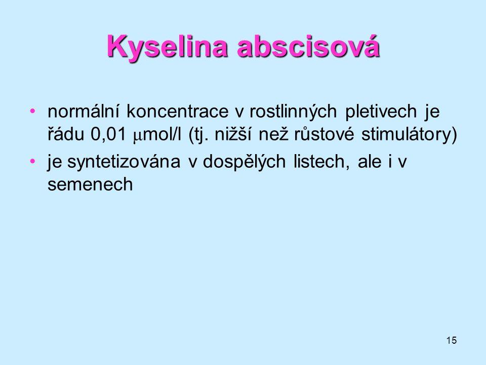 15 Kyselina abscisová normální koncentrace v rostlinných pletivech je řádu 0,01 μ mol/l (tj. nižší než růstové stimulátory) je syntetizována v dospělý