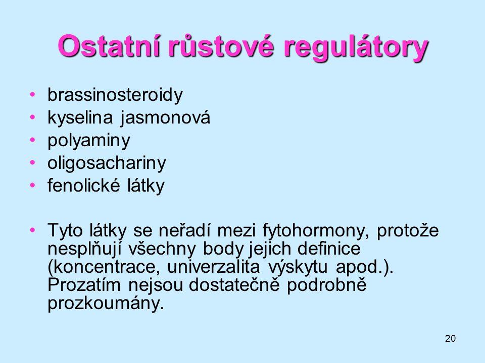 20 Ostatní růstové regulátory brassinosteroidy kyselina jasmonová polyaminy oligosachariny fenolické látky Tyto látky se neřadí mezi fytohormony, prot