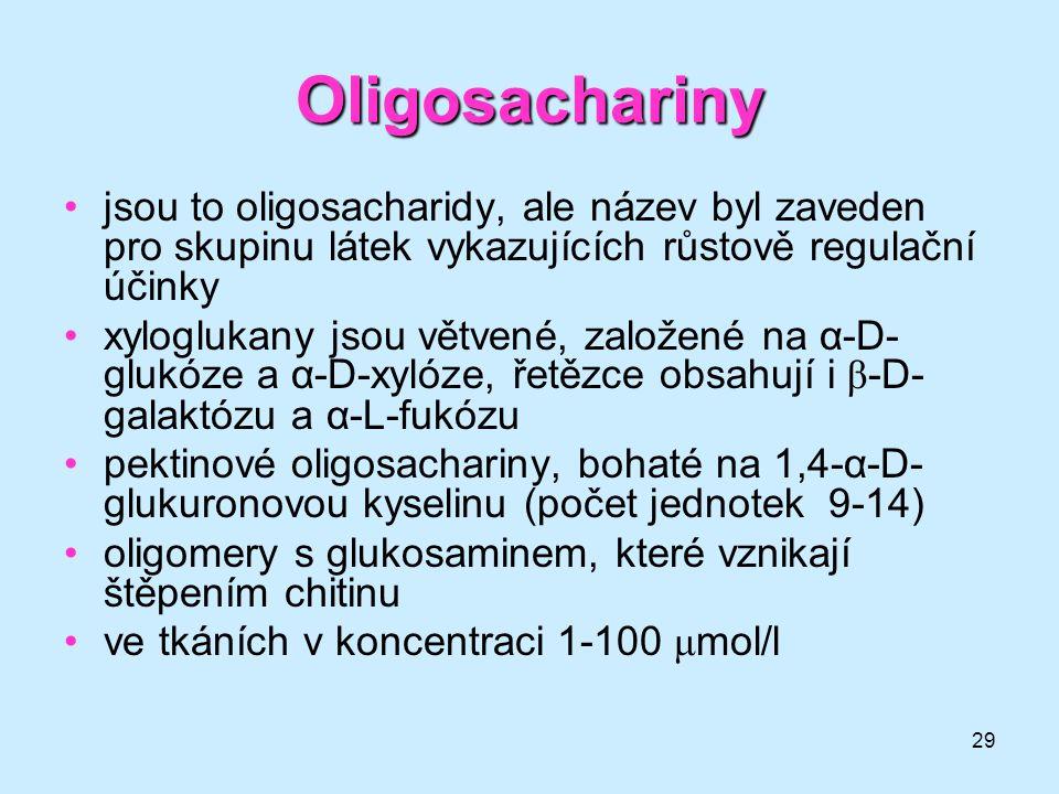 29 Oligosachariny jsou to oligosacharidy, ale název byl zaveden pro skupinu látek vykazujících růstově regulační účinky xyloglukany jsou větvené, zalo