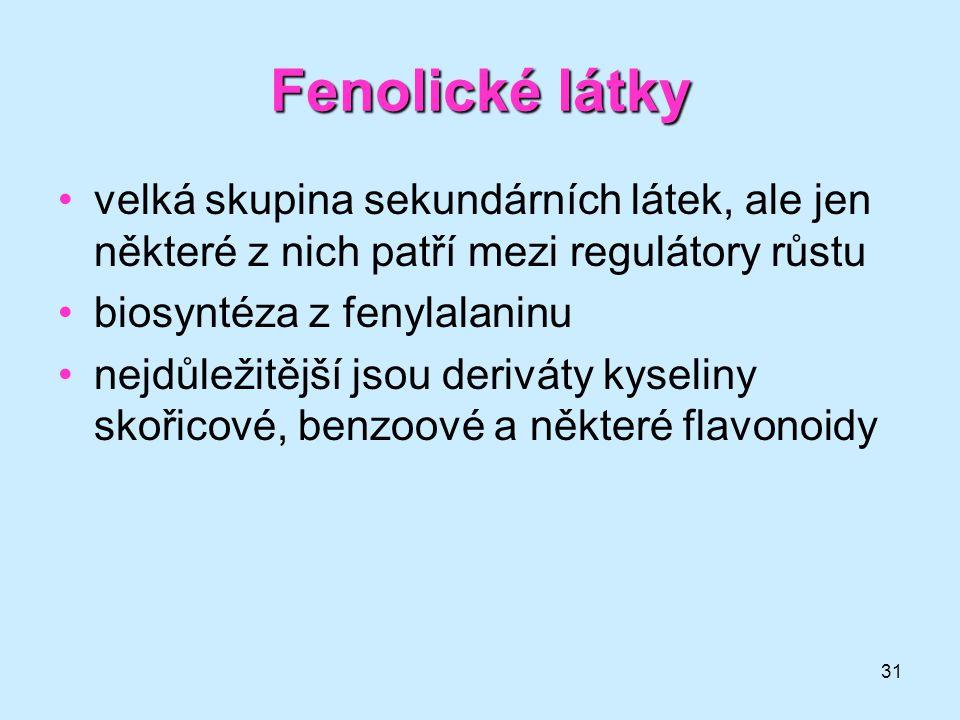 31 Fenolické látky velká skupina sekundárních látek, ale jen některé z nich patří mezi regulátory růstu biosyntéza z fenylalaninu nejdůležitější jsou
