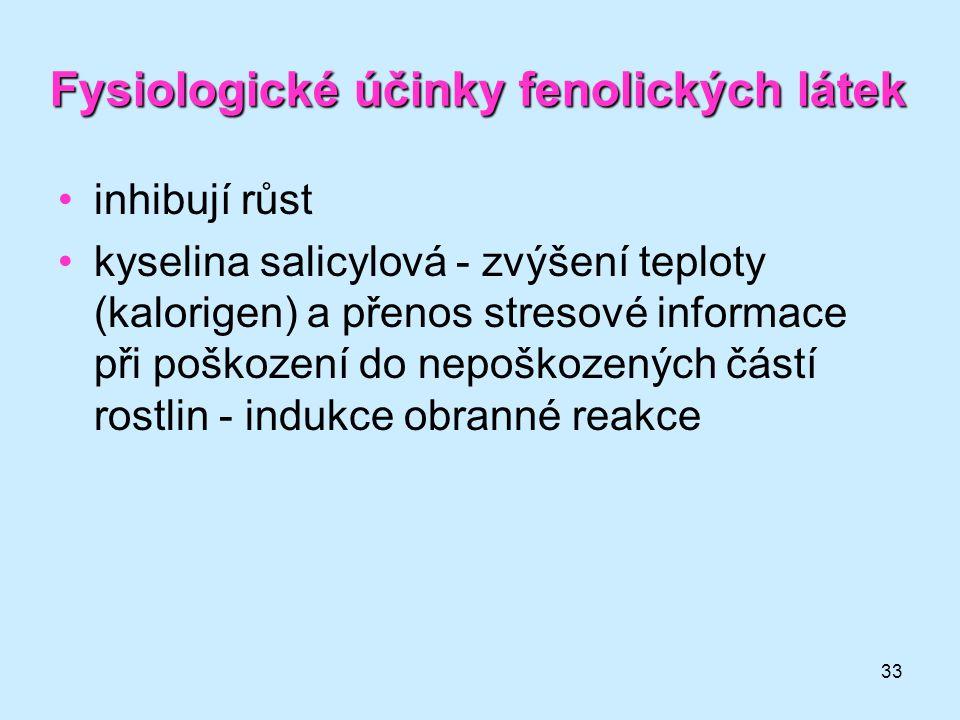 33 Fysiologické účinky fenolických látek inhibují růst kyselina salicylová - zvýšení teploty (kalorigen) a přenos stresové informace při poškození do
