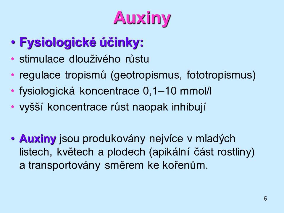 5 Auxiny Fysiologické účinky:Fysiologické účinky: stimulace dlouživého růstu regulace tropismů (geotropismus, fototropismus) fysiologická koncentrace