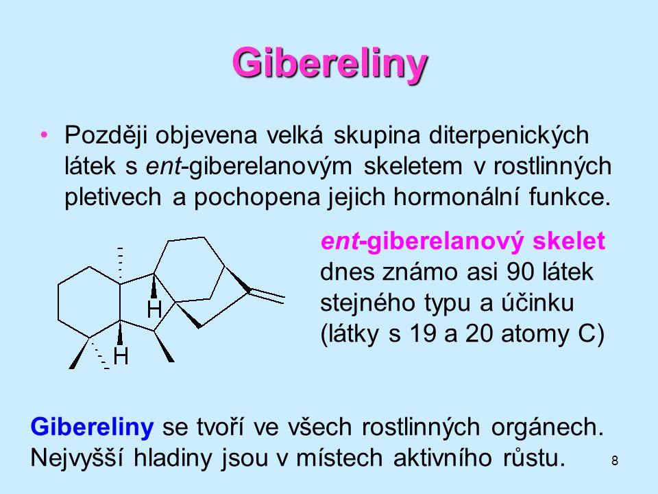 8 Gibereliny Později objevena velká skupina diterpenických látek s ent-giberelanovým skeletem v rostlinných pletivech a pochopena jejich hormonální fu