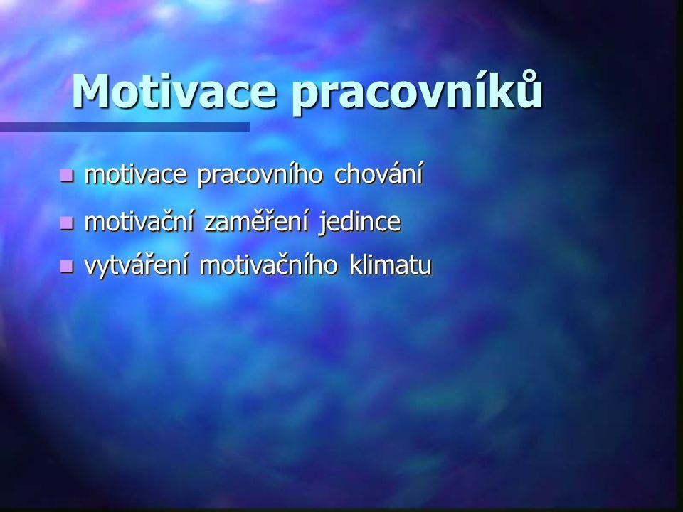 Motivace pracovníků motivace pracovního chování motivace pracovního chování motivační zaměření jedince motivační zaměření jedince vytváření motivačníh