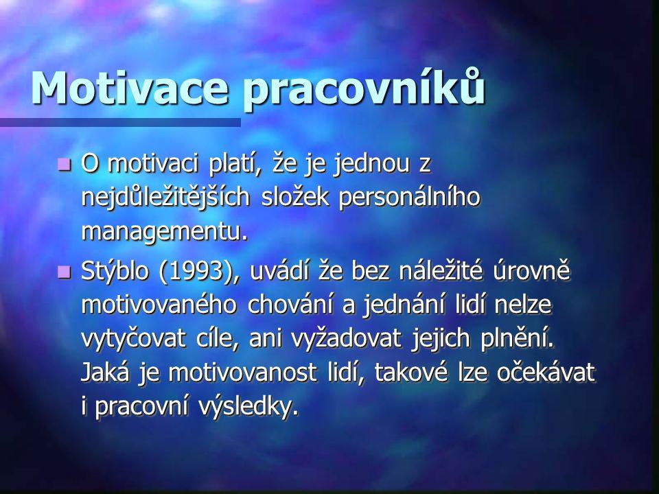 Motivace pracovníků O motivaci platí, že je jednou z nejdůležitějších složek personálního managementu. O motivaci platí, že je jednou z nejdůležitější