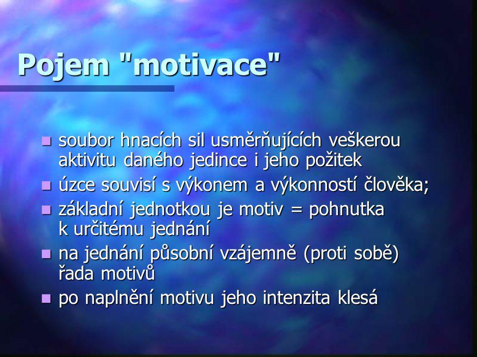 Zdroje motivace = potřeby (pociťovaný nedostatek) + zájmy (zaměření člověka na soubor věcí, během života se obvykle mění) + hodnoty (něco důležité, čeho si člověk váží, co ovlivňuje jeho chování) + ideály (model / vzor, podle kterého člověk jedná, ke kterému směřuje) + návyky (soubor opakovaných ustálených jednání v určitých situacích)