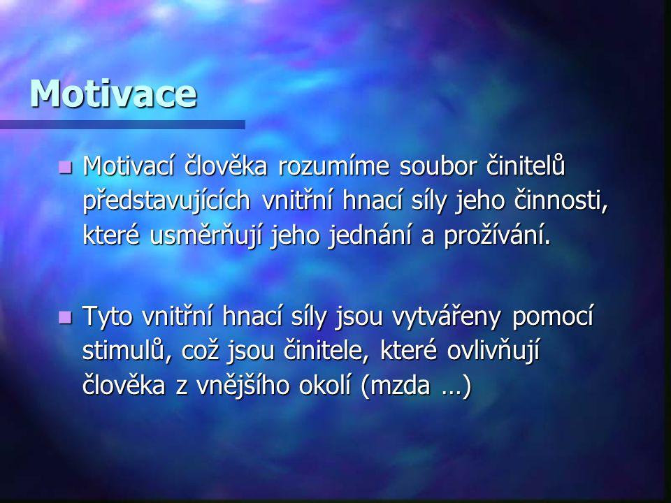 Motivace Motivací člověka rozumíme soubor činitelů představujících vnitřní hnací síly jeho činnosti, které usměrňují jeho jednání a prožívání. Motivac