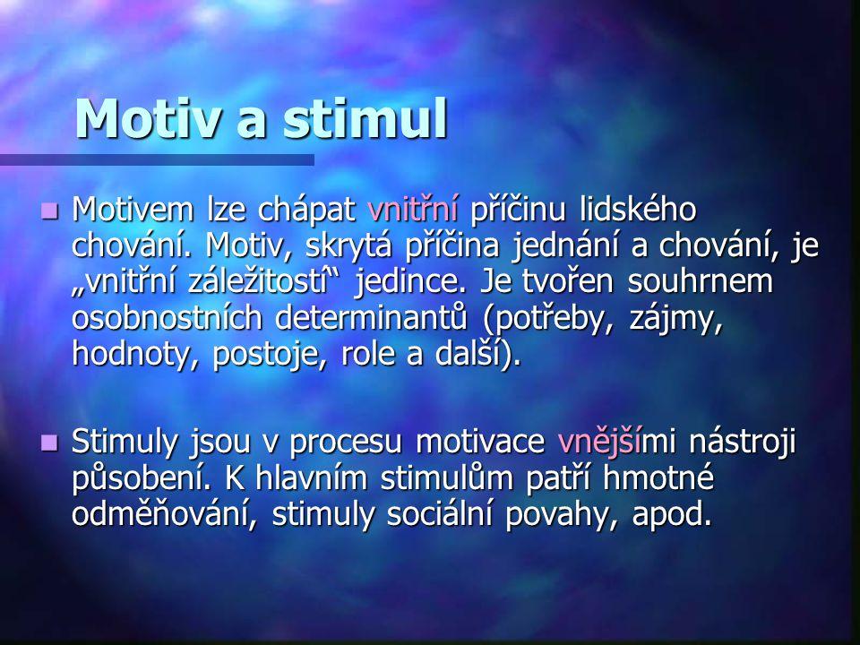 """Motiv a stimul Motivem lze chápat vnitřní příčinu lidského chování. Motiv, skrytá příčina jednání a chování, je """"vnitřní záležitostí"""" jedince. Je tvoř"""
