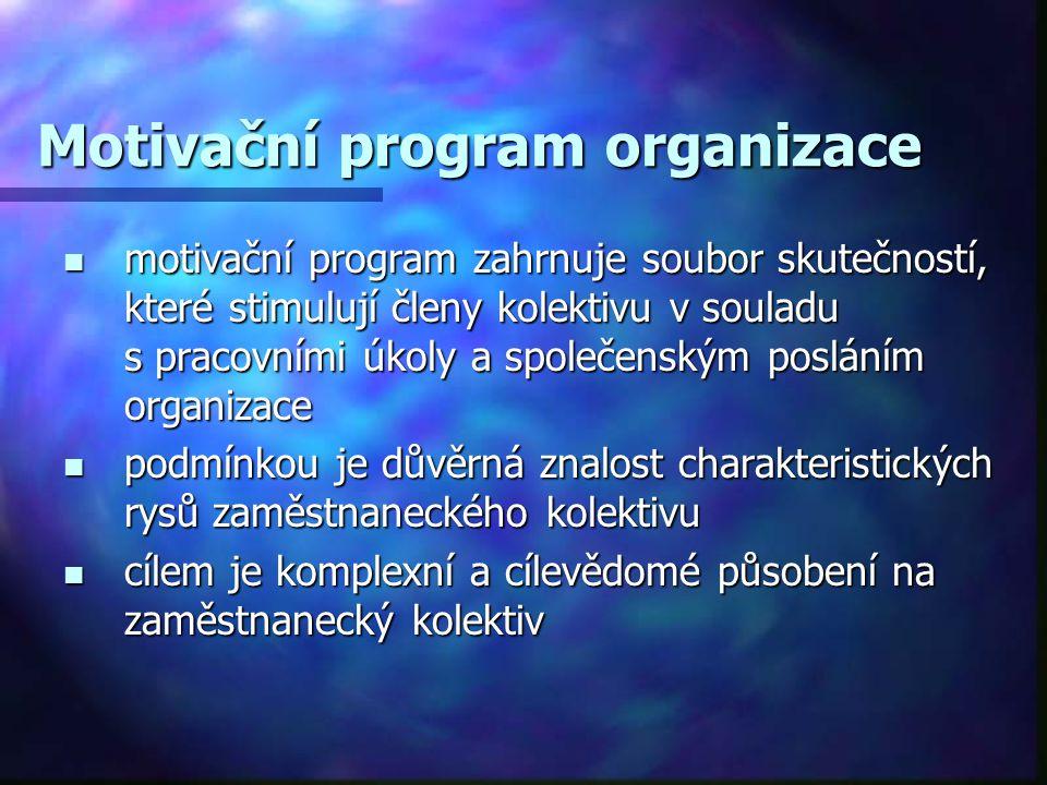 Motivační program organizace motivační program zahrnuje soubor skutečností, které stimulují členy kolektivu v souladu s pracovními úkoly a společenský