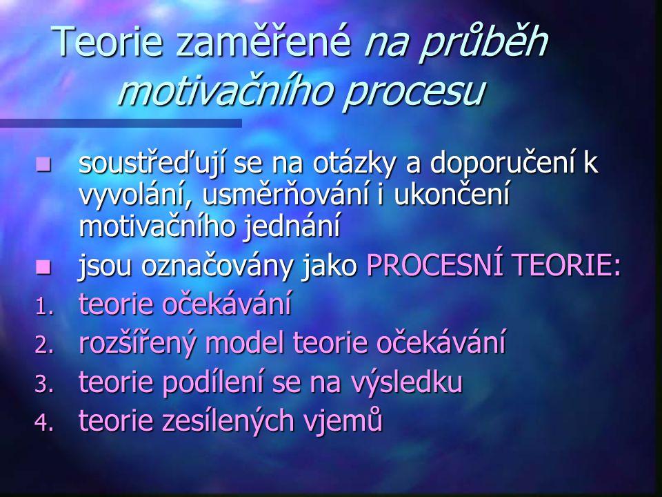 Teorie zaměřené na průběh motivačního procesu soustřeďují se na otázky a doporučení k vyvolání, usměrňování i ukončení motivačního jednání soustřeďují