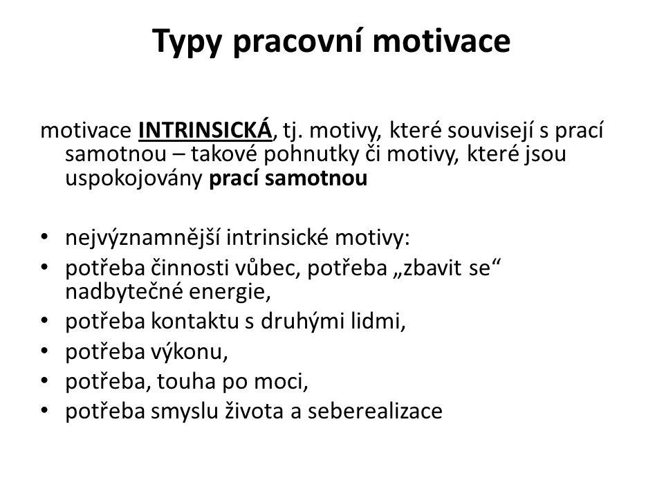 Typy pracovní motivace motivace INTRINSICKÁ, tj.