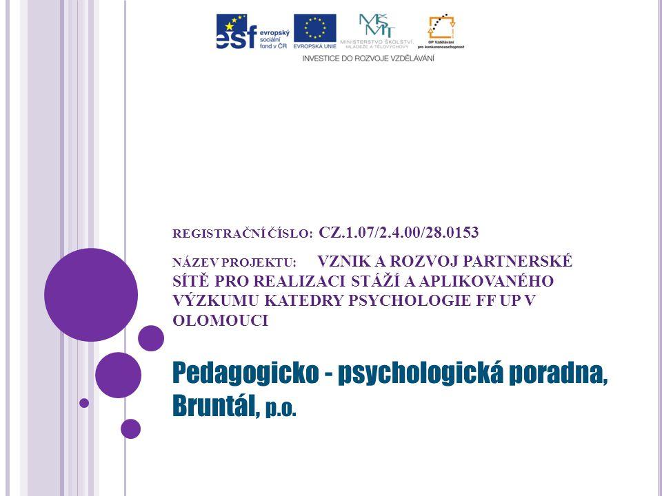 REGISTRAČNÍ ČÍSLO: CZ.1.07/2.4.00/28.0153 NÁZEV PROJEKTU: VZNIK A ROZVOJ PARTNERSKÉ SÍTĚ PRO REALIZACI STÁŽÍ A APLIKOVANÉHO VÝZKUMU KATEDRY PSYCHOLOGIE FF UP V OLOMOUCI Pedagogicko - psychologická poradna, Bruntál, p.o.