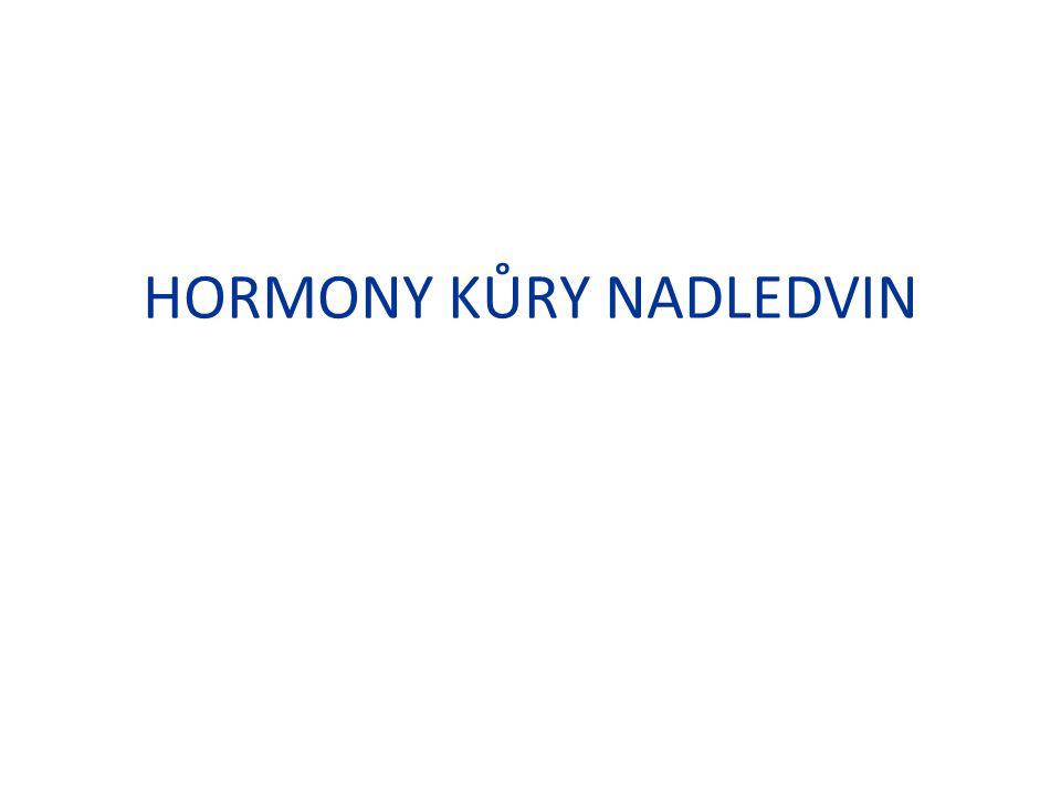 Látky blokující účinky aldosteronu Spironolakton – Kompetitivní blokáda mineralokortikoidního receptoru Pravděpodobně snižuje rovněž syntézu aldo- a testosteronu – Indikace - hyperaldosteronismus Možnost použití u hirsuntismu u žen – interferuje s receptorem pro testosteron na vlasovém folikulu – Nežádoucí účinky: – hyperkalemie, gynekomastie, menstruační nepravidelnost, rash Eplerenon – blokáda mineralokortikoidního receptoru – Nesteroidní struktura – postrádá gynekomastii – Registrován jako antihypertenzivum.