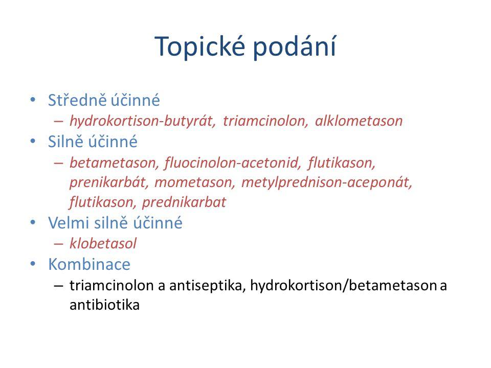 Topické podání Středně účinné – hydrokortison-butyrát, triamcinolon, alklometason Silně účinné – betametason, fluocinolon-acetonid, flutikason, prenikarbát, mometason, metylprednison-aceponát, flutikason, prednikarbat Velmi silně účinné – klobetasol Kombinace – triamcinolon a antiseptika, hydrokortison/betametason a antibiotika