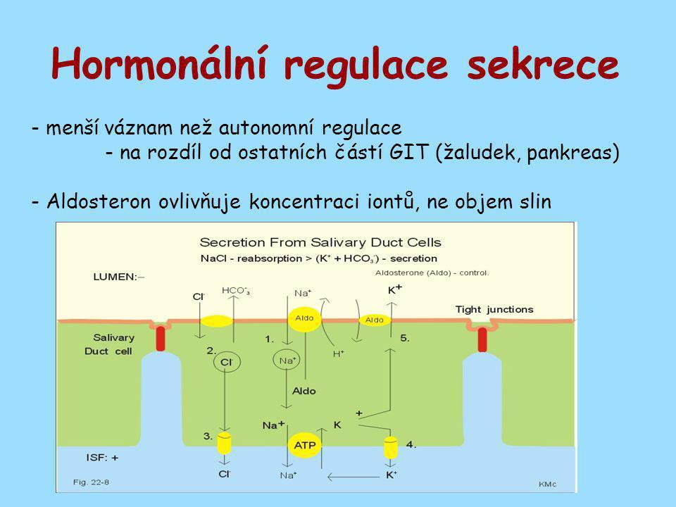 Hormonální regulace sekrece - menší váznam než autonomní regulace - na rozdíl od ostatních částí GIT (žaludek, pankreas) - Aldosteron ovlivňuje koncen