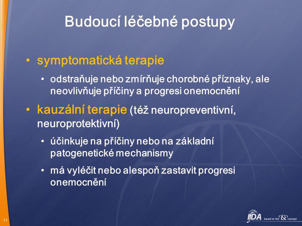 11 Budoucí léčebné postupy symptomatická terapie odstraňuje nebo zmírňuje chorobné příznaky, ale neovlivňuje příčiny a progresi onemocnění kauzální te