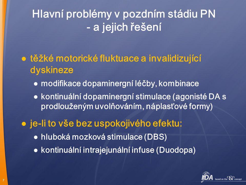 7 Hlavní problémy v pozdním stádiu PN - a jejich řešení ● těžké motorické fluktuace a invalidizující dyskineze ● modifikace dopaminergní léčby, kombin