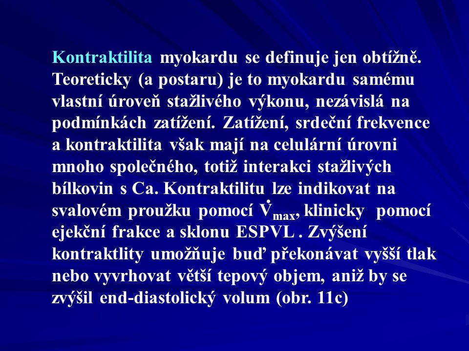 Kontraktilita myokardu se definuje jen obtížně.