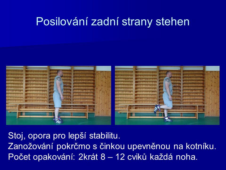 Posilování zadní strany stehen Stoj, opora pro lepší stabilitu. Zanožování pokrčmo s činkou upevněnou na kotníku. Počet opakování: 2krát 8 – 12 cviků