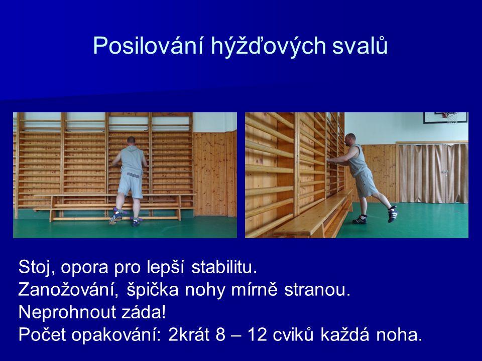 Posilování hýžďových svalů Stoj, opora pro lepší stabilitu. Zanožování, špička nohy mírně stranou. Neprohnout záda! Počet opakování: 2krát 8 – 12 cvik