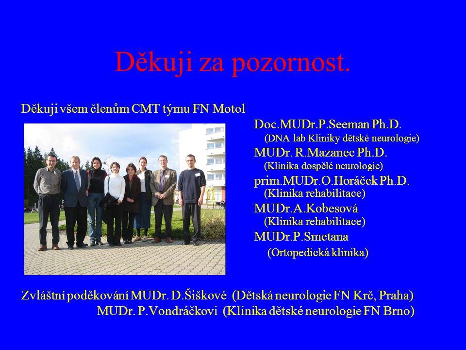 Děkuji za pozornost. Děkuji všem členům CMT týmu FN Motol Doc.MUDr.P.Seeman Ph.D. (DNA lab Kliniky dětské neurologie) MUDr. R.Mazanec Ph.D. (Klinika d