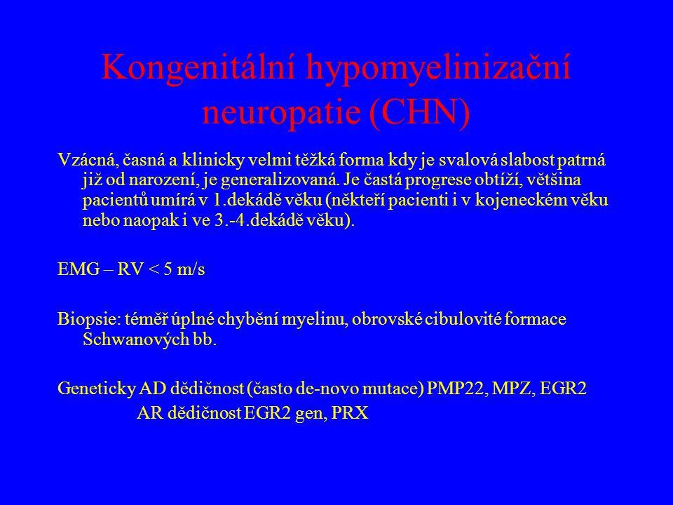 Kongenitální hypomyelinizační neuropatie (CHN) Vzácná, časná a klinicky velmi těžká forma kdy je svalová slabost patrná již od narození, je generalizo