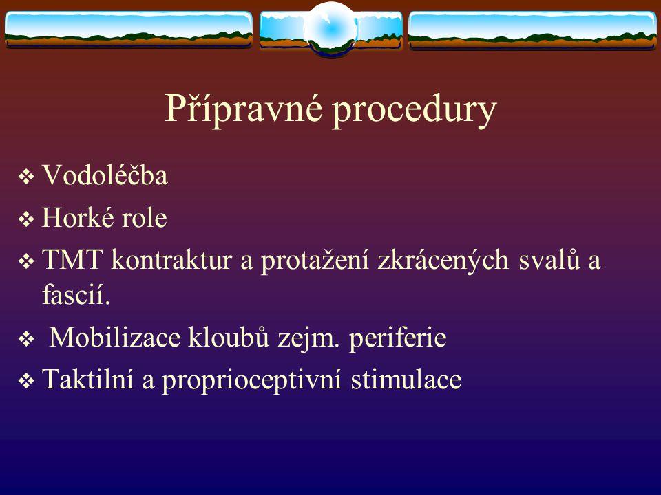 Přípravné procedury  Vodoléčba  Horké role  TMT kontraktur a protažení zkrácených svalů a fascií.