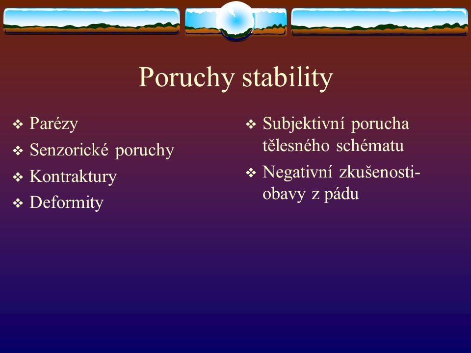 Poruchy stability  Subjektivní porucha tělesného schématu  Negativní zkušenosti- obavy z pádu  Parézy  Senzorické poruchy  Kontraktury  Deformity