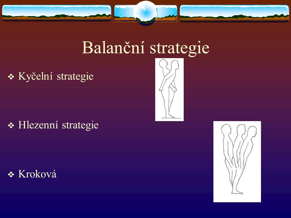 Balanční strategie  Kyčelní strategie  Hlezenní strategie  Kroková
