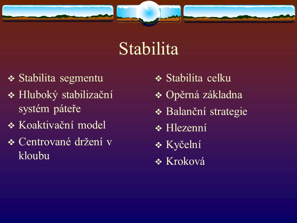 Stabilita  Stabilita segmentu  Hluboký stabilizační systém páteře  Koaktivační model  Centrované držení v kloubu  Stabilita celku  Opěrná základna  Balanční strategie  Hlezenní  Kyčelní  Kroková