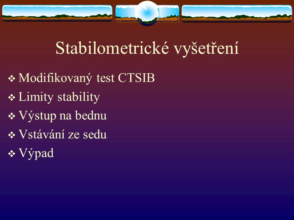 Stabilometrické vyšetření  Modifikovaný test CTSIB  Limity stability  Výstup na bednu  Vstávání ze sedu  Výpad