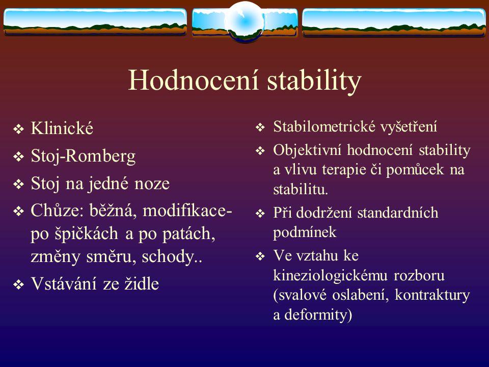 Hodnocení stability  Klinické  Stoj-Romberg  Stoj na jedné noze  Chůze: běžná, modifikace- po špičkách a po patách, změny směru, schody..