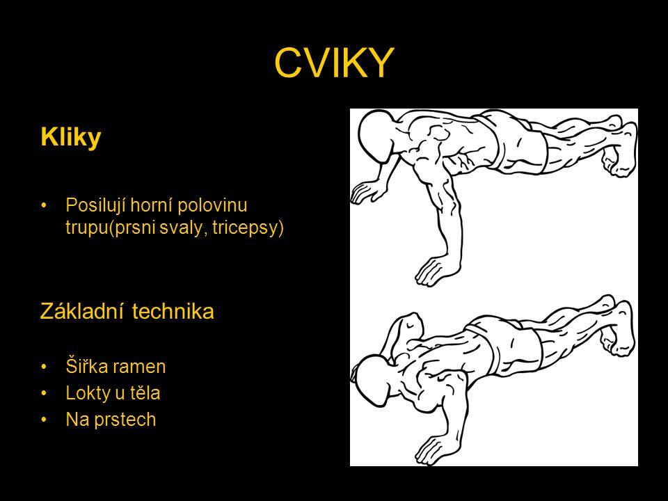 CVIKY Kliky Posilují horní polovinu trupu(prsni svaly, tricepsy) Základní technika Šiřka ramen Lokty u těla Na prstech