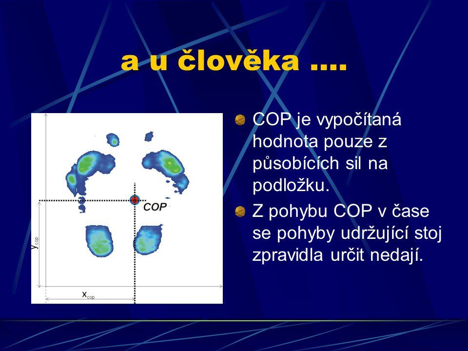 a u člověka …. COP je vypočítaná hodnota pouze z působících sil na podložku. Z pohybu COP v čase se pohyby udržující stoj zpravidla určit nedají.