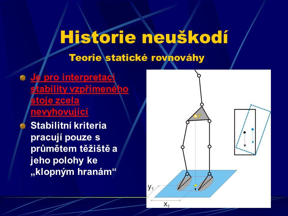 Historie neuškodí Teorie statické rovnováhy Je pro interpretaci stability vzpřímeného stoje zcela nevyhovující Stabilitní kriteria pracují pouze s prů
