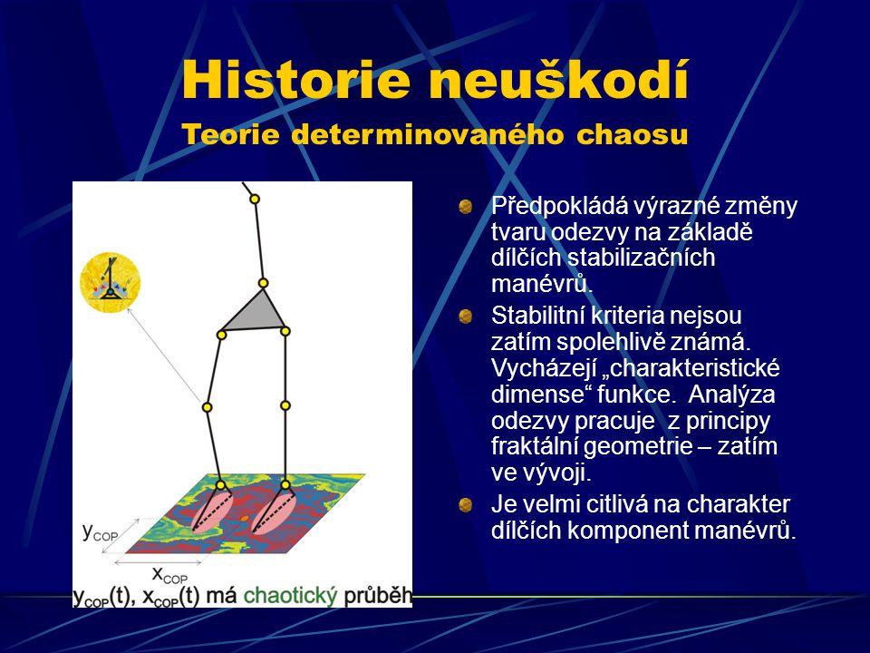 Historie neuškodí Teorie determinovaného chaosu Předpokládá výrazné změny tvaru odezvy na základě dílčích stabilizačních manévrů. Stabilitní kriteria