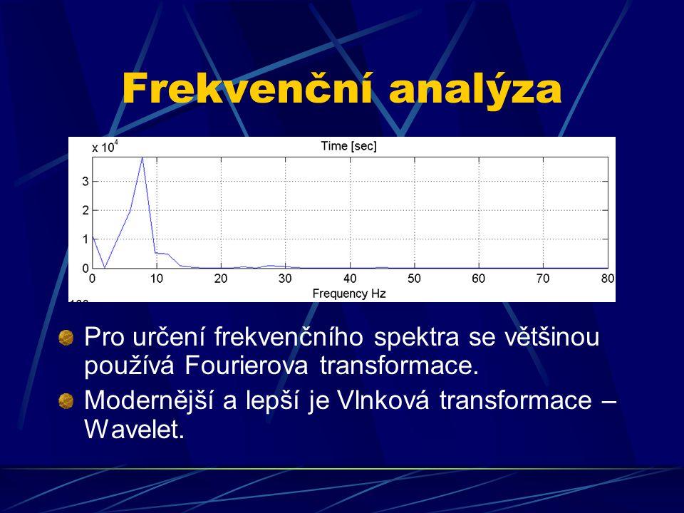 Frekvenční analýza Pro určení frekvenčního spektra se většinou používá Fourierova transformace. Modernější a lepší je Vlnková transformace – Wavelet.