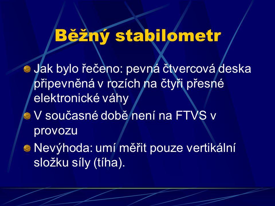 Běžný stabilometr Jak bylo řečeno: pevná čtvercová deska připevněná v rozích na čtyři přesné elektronické váhy V současné době není na FTVS v provozu