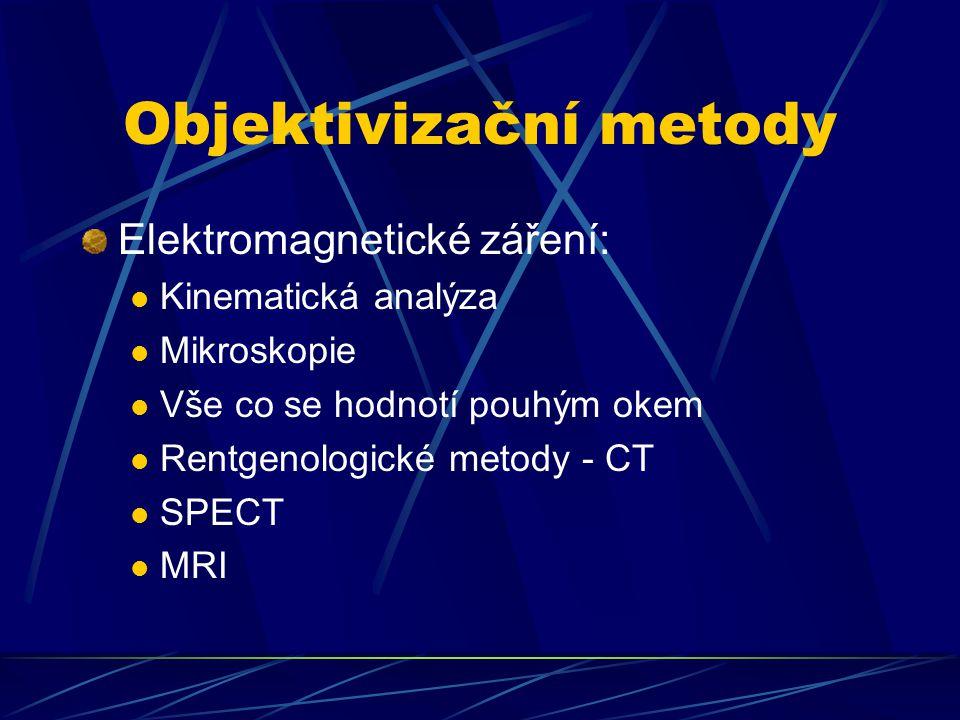 Objektivizační metody Elektromagnetické záření: Kinematická analýza Mikroskopie Vše co se hodnotí pouhým okem Rentgenologické metody - CT SPECT MRI