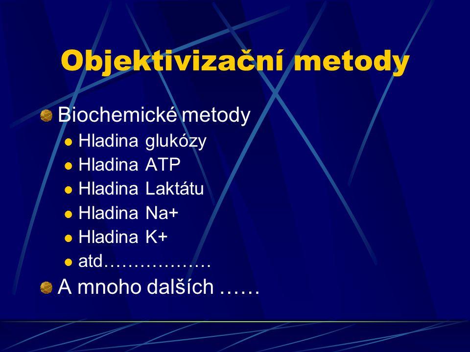 Objektivizační metody Biochemické metody Hladina glukózy Hladina ATP Hladina Laktátu Hladina Na+ Hladina K+ atd……………… A mnoho dalších ……