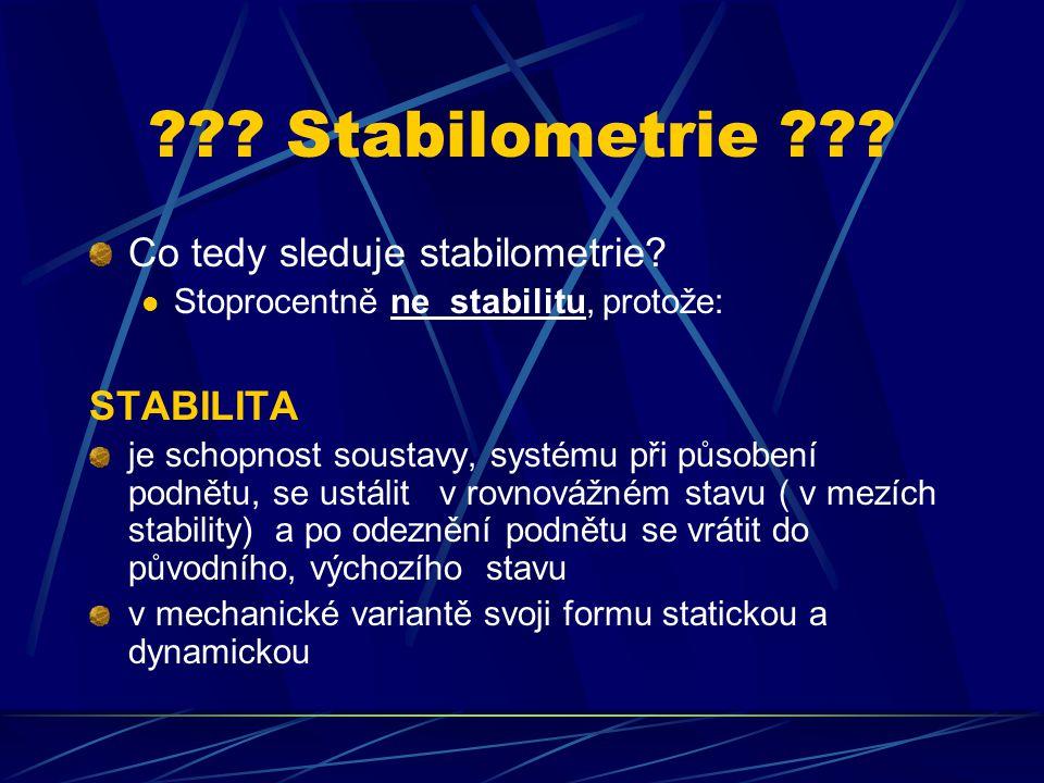 ??? Stabilometrie ??? Co tedy sleduje stabilometrie? Stoprocentně ne stabilitu, protože: STABILITA je schopnost soustavy, systému při působení podnětu